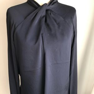 Banana Republic navy blue tie front blouse